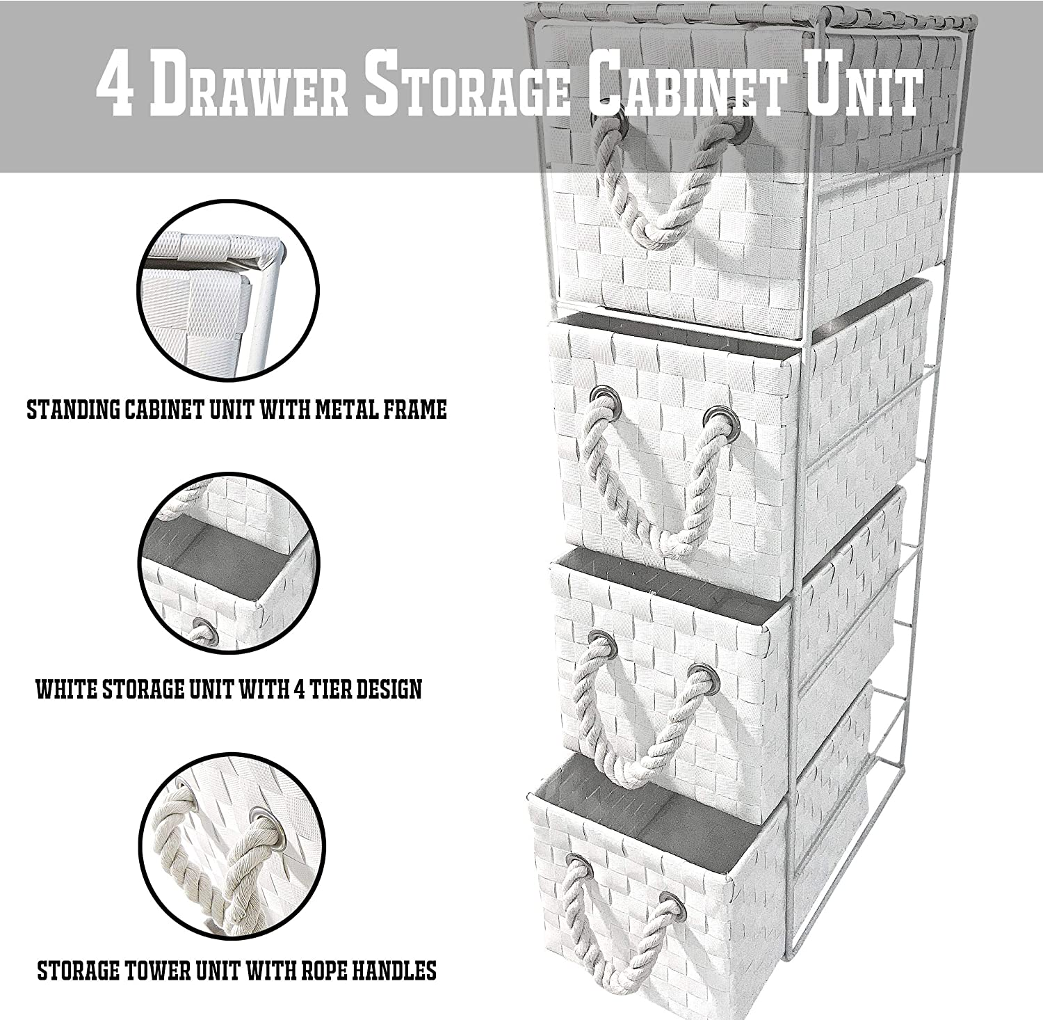 K-ONE 4 Drawer Storage Cabinet Tower Basket Unit White PP Bathroom/Office/Shed/Home