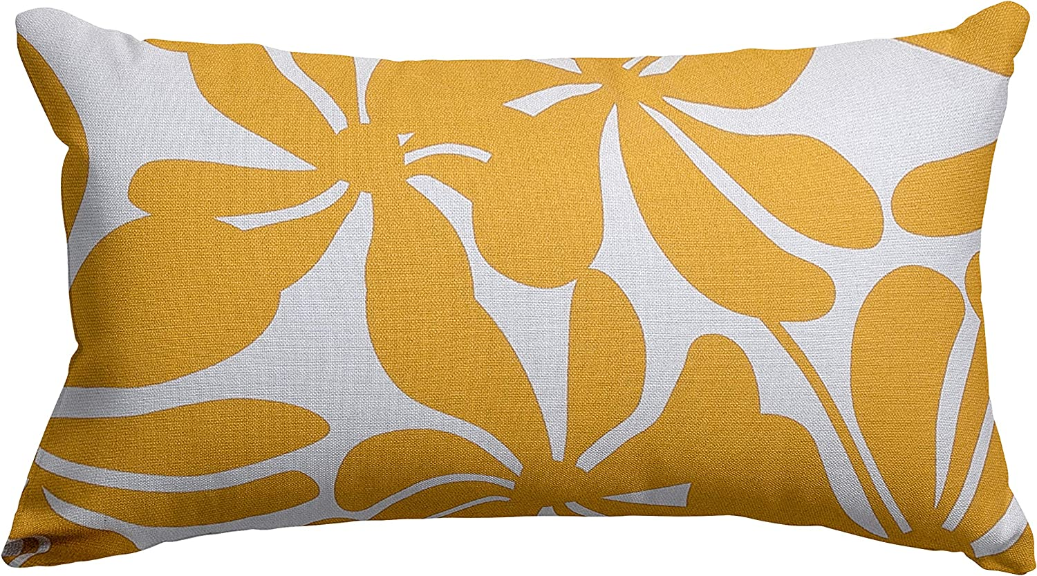 """Majestic Home Goods Yellow Plantation Indoor / Outdoor Small Throw Pillow 20"""" L x 5"""" W x 12"""" H"""