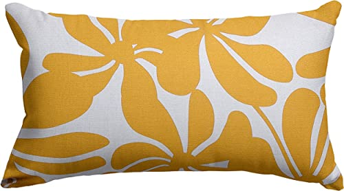 Majestic Home Goods Yellow Plantation Indoor Outdoor Small Throw Pillow 20 L x 5 W x 12 H
