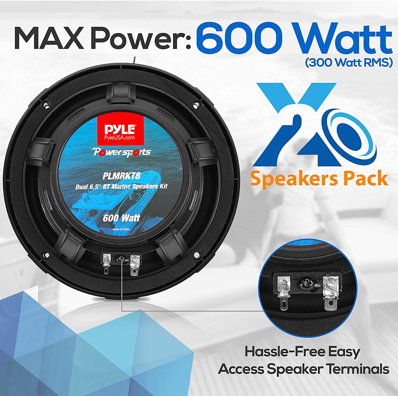 IP65 Marine Grade Rating Pyle PLMRKT8 Waterproof-Rated w//Amplified Bluetooth Remote Control Receiver for Powersport Vehicles 6.5 Dual Marine Speakers Kit 600 Watt Max Power