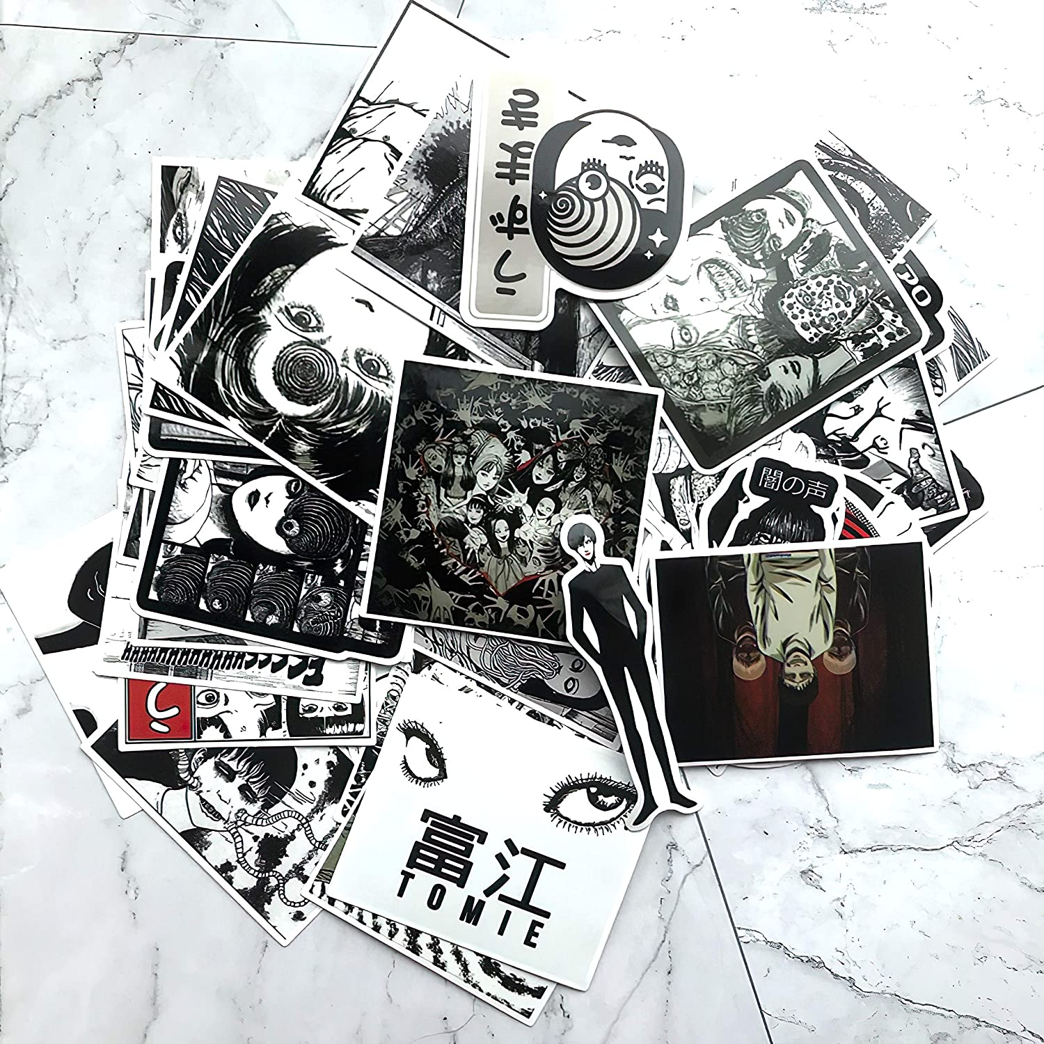 56Pcs Horror Comics Stickers Japanese ITO leap Second Decal for Snowboard Laptop Luggage Car Fridge Car-Styling Vinyl Home