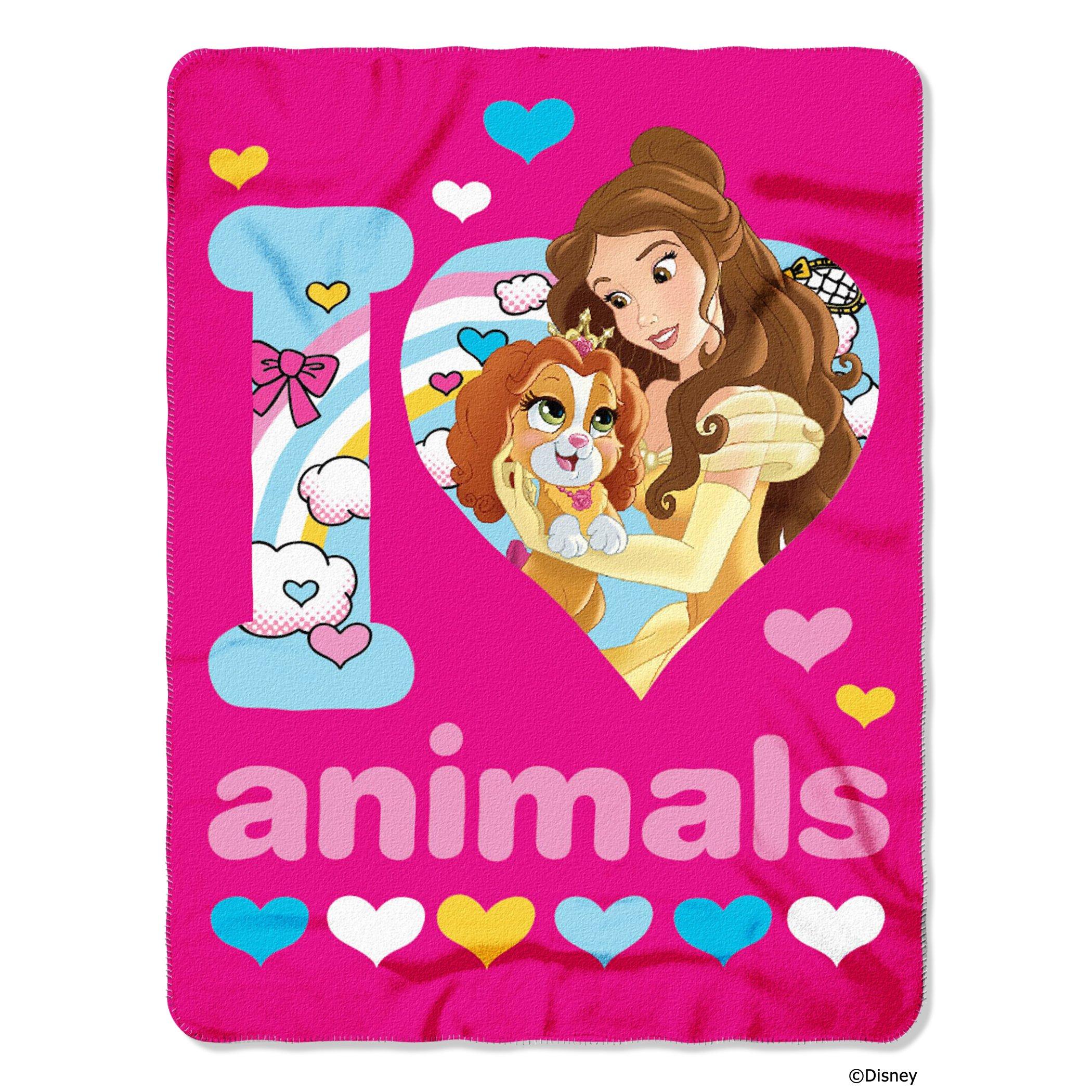 Disney's Princesses Palace Pets, ''I Love Animals'' Fleece Throw Blanket, 45'' x 60'', Multi Color