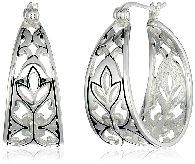 "Sterling Silver Filigree Hoop Earrings (1.0"" Diameter)"