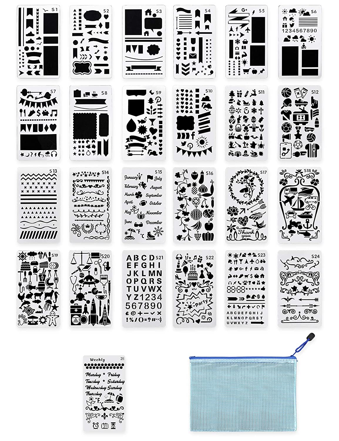 photo relating to Diy Planner Templates titled LIDAGO 25 Components Magazine Stencil Do it yourself Diary Drawing Template Plastic Planner Templates with 1 Storage Bag for Laptop computer, Diary, Sbook,Includes