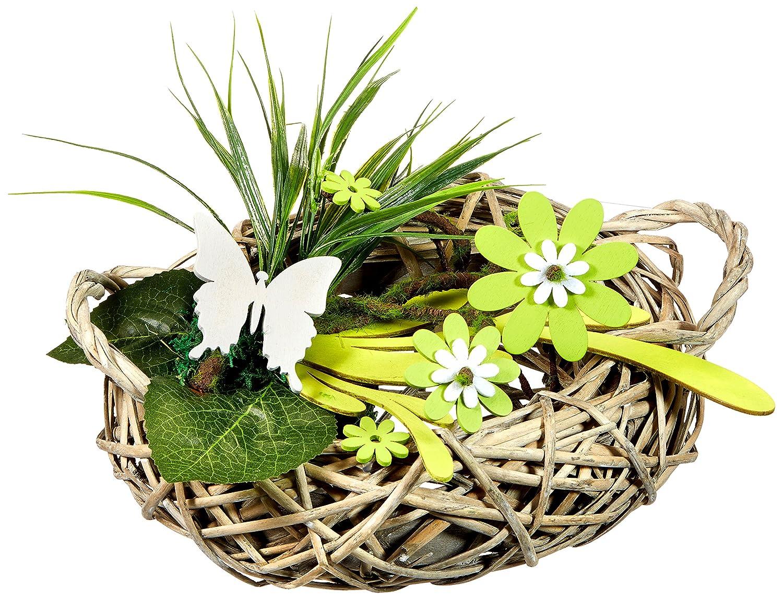 rat/án Gris//Verde 38/x 25/x 20/cm HEITMANN DECO 62899/Mesa de rat/án Decorativo con Madera de Flores