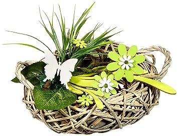 Amazon De Heitmann Deco Rattan Tischdeko Mit Holz Blumen