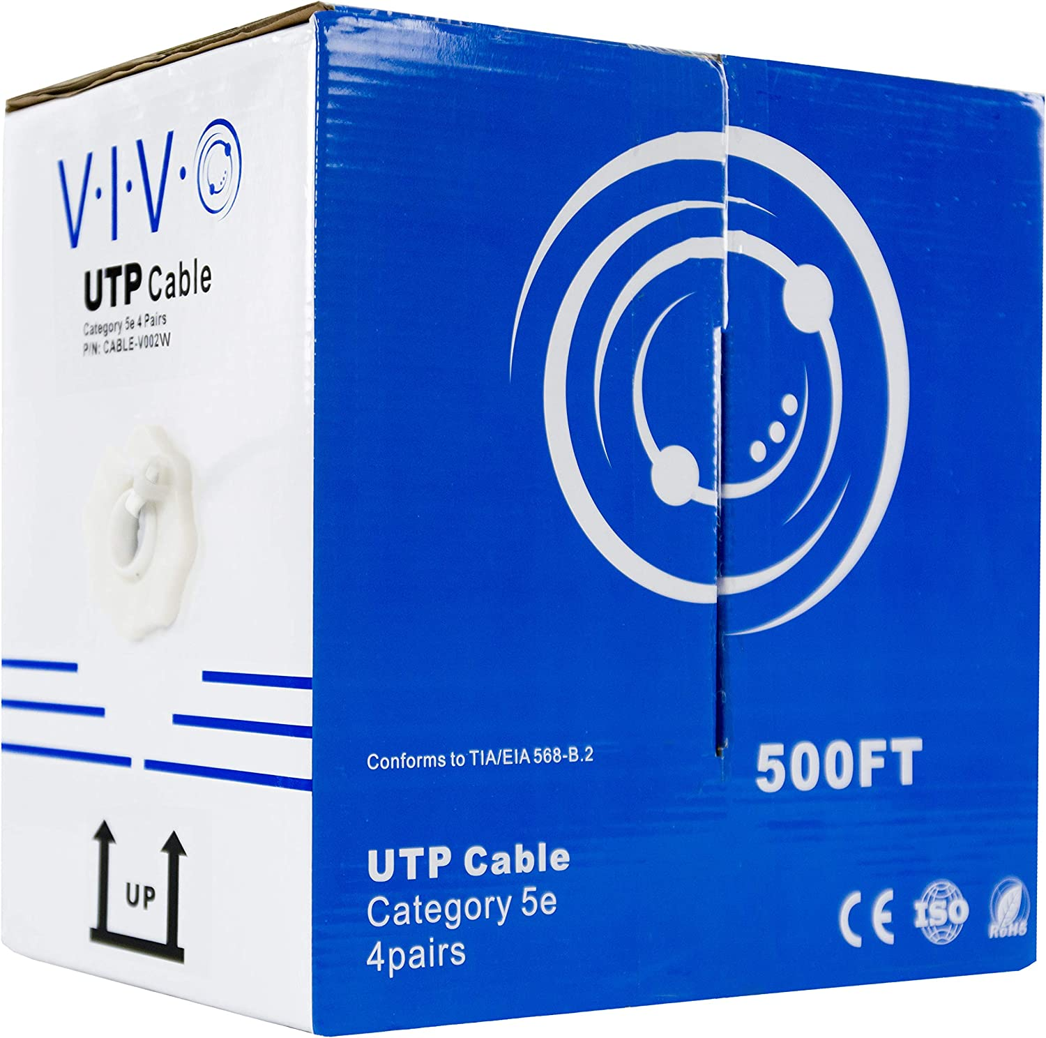 24AWG CAT5E UTP Bulk Ethernet Network Cable CCA 500FT White