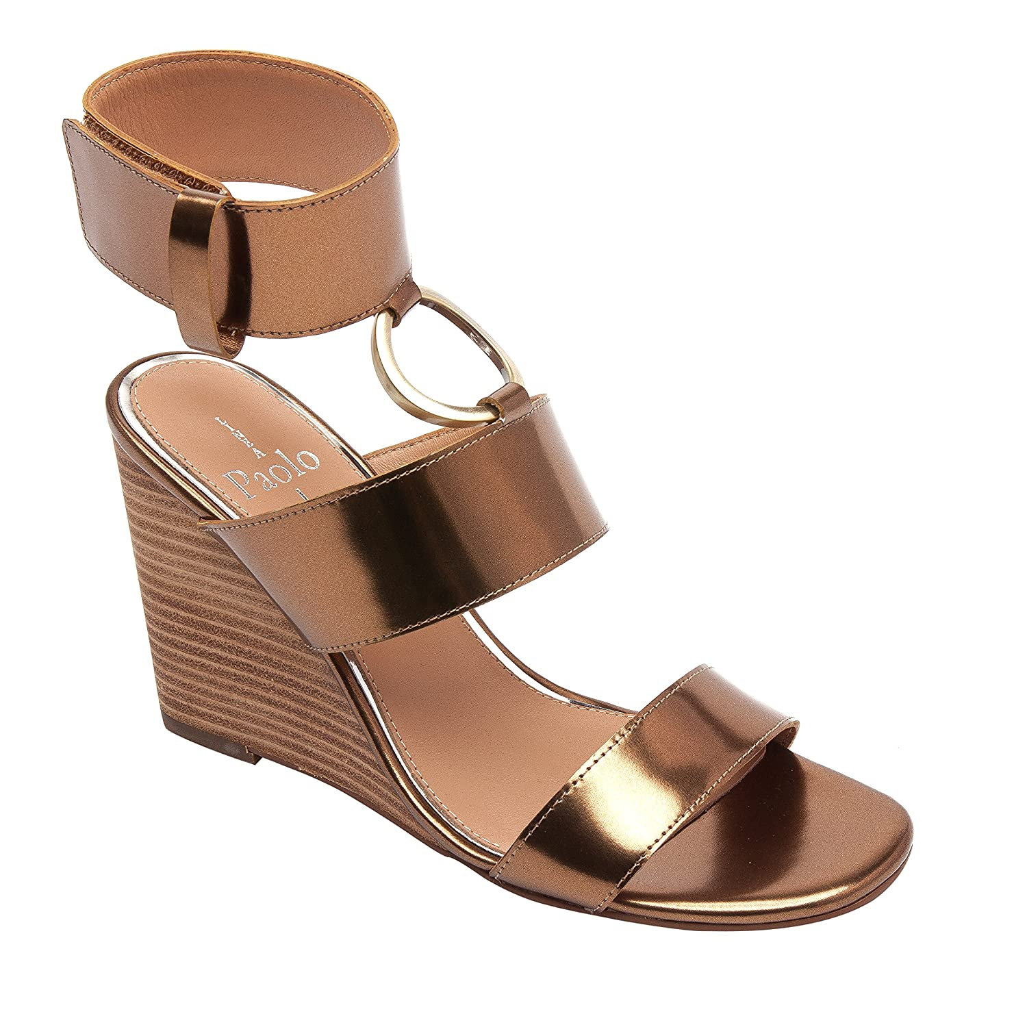 Linea Paolo EVA | Women's Metal Ring Adorned Cuffed Comfortable Wedge Sandal B07957SGZC 9 M US|Bronze Leather