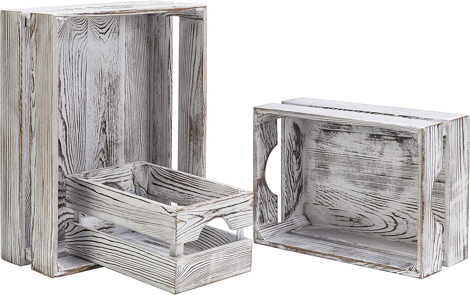 MyGift Vintage Whitewashed Wood Nesting Storage & Accent Boxes, Set of 3