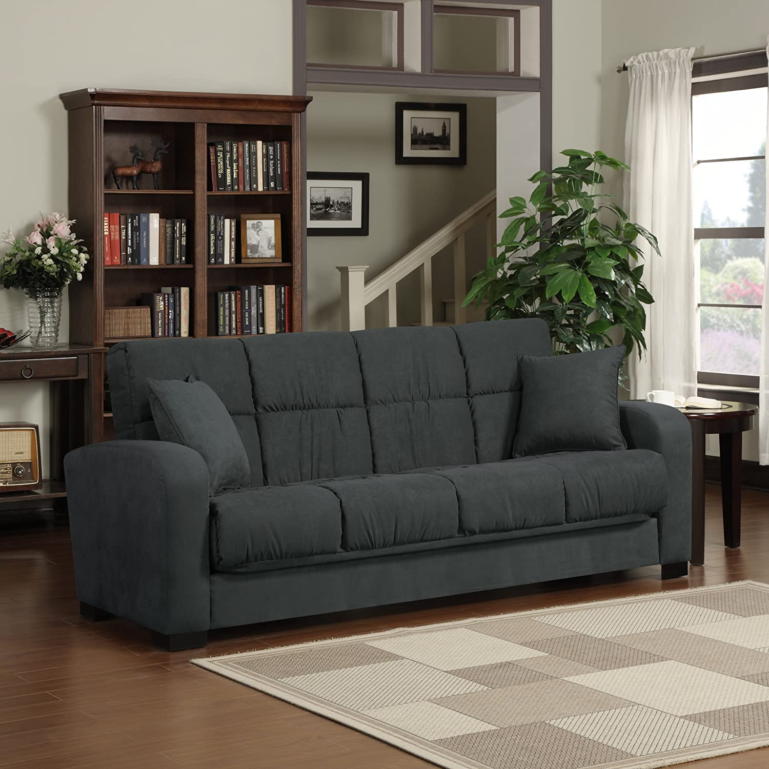 Amazon.com: Handy Living Damen Convert A Couch In Gray Microfiber: Kitchen  U0026 Dining