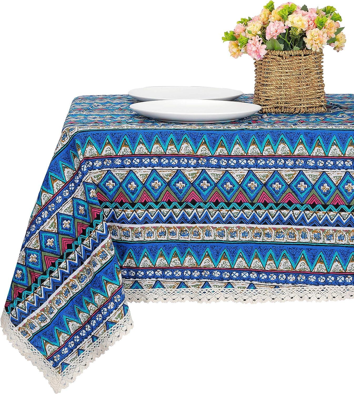 Boho Ethnic Linen Tablecloth Lace Rectangle Tea Table Cloth Cover Home Decor