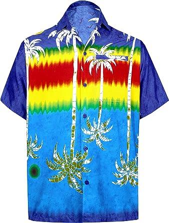 LA LEELA Casual Hawaiana Camisa para Hombre Señores Manga Corta Bolsillo Delantero Surf Palmeras Caballeros Playa Aloha XS-(in cms):91-96 Azul_W396: Amazon.es: Ropa y accesorios