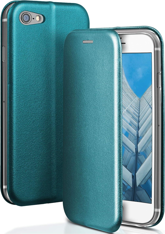 OneFlow® Funda Libro + Cierre magnético Compatible con iPhone SE (2020) | Piel sintética, Bleu