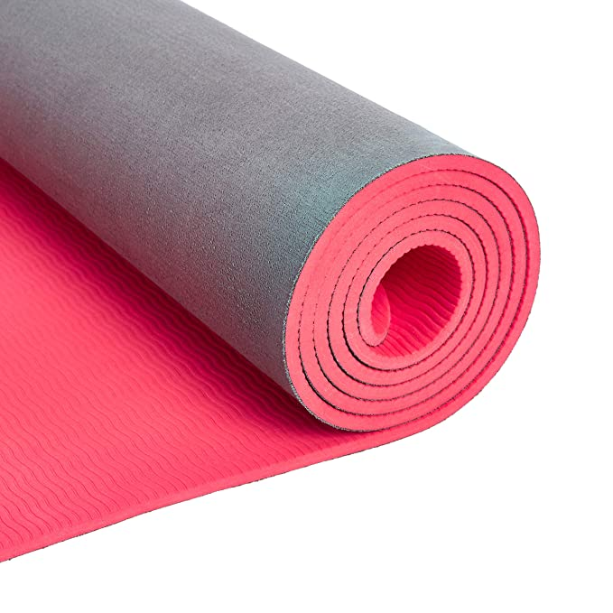 AmazonBasics TPE & Suede Yoga Mat, Red, 1/4
