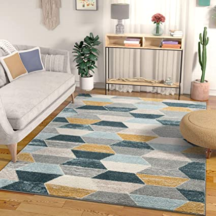 Well Woven Everleigh Honeycomb Hexagon Geometric Blue Mustard Gold Grey Area Rug 160x120 Cm 3 11 X 5 3 Ft Amazon Co Uk Kitchen Home