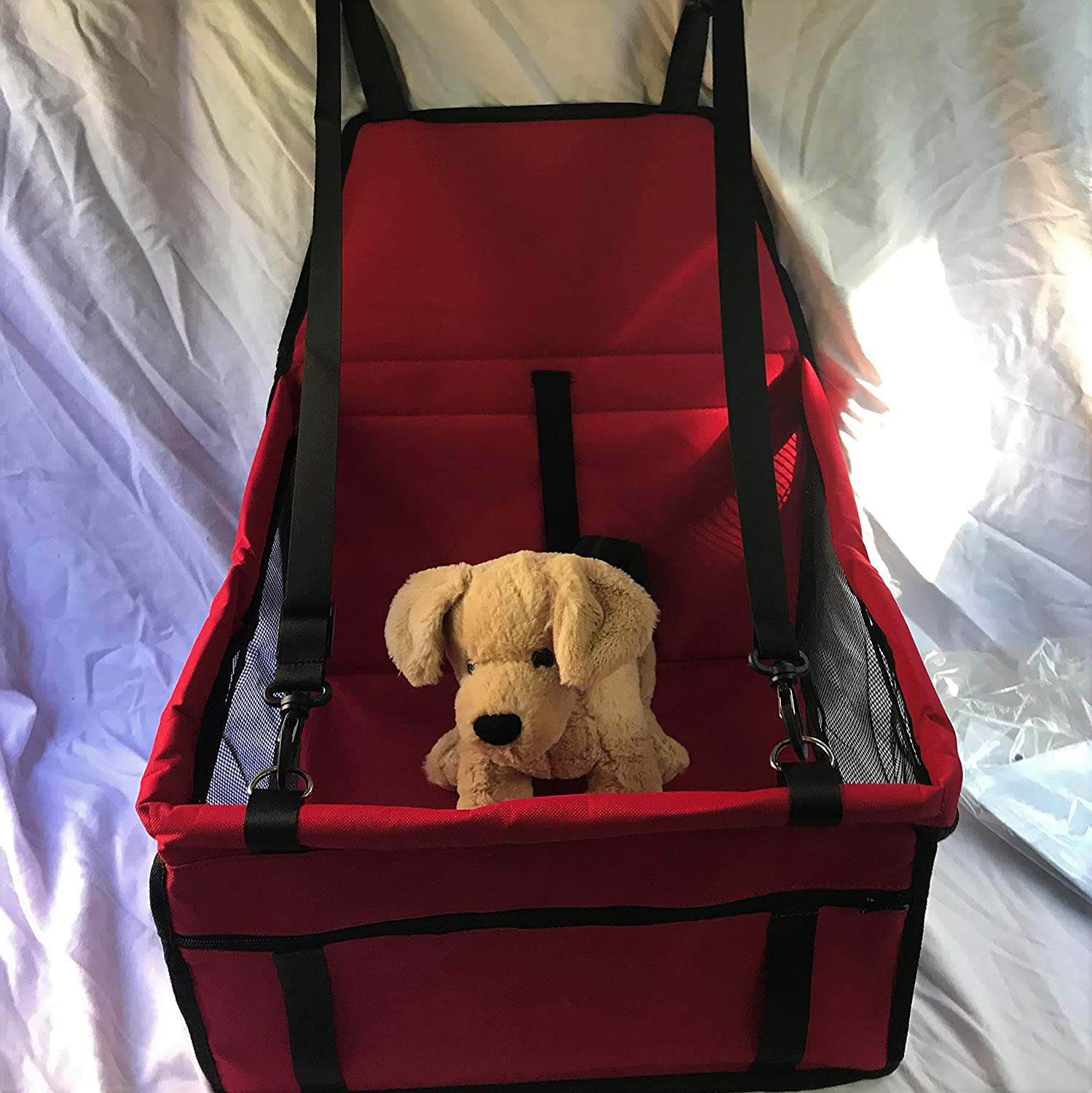 Red Bala Cat Rescue Pet Car Booster Safety Seat 16 x13 x10  Leash Clip Safety Straps Included (Red)