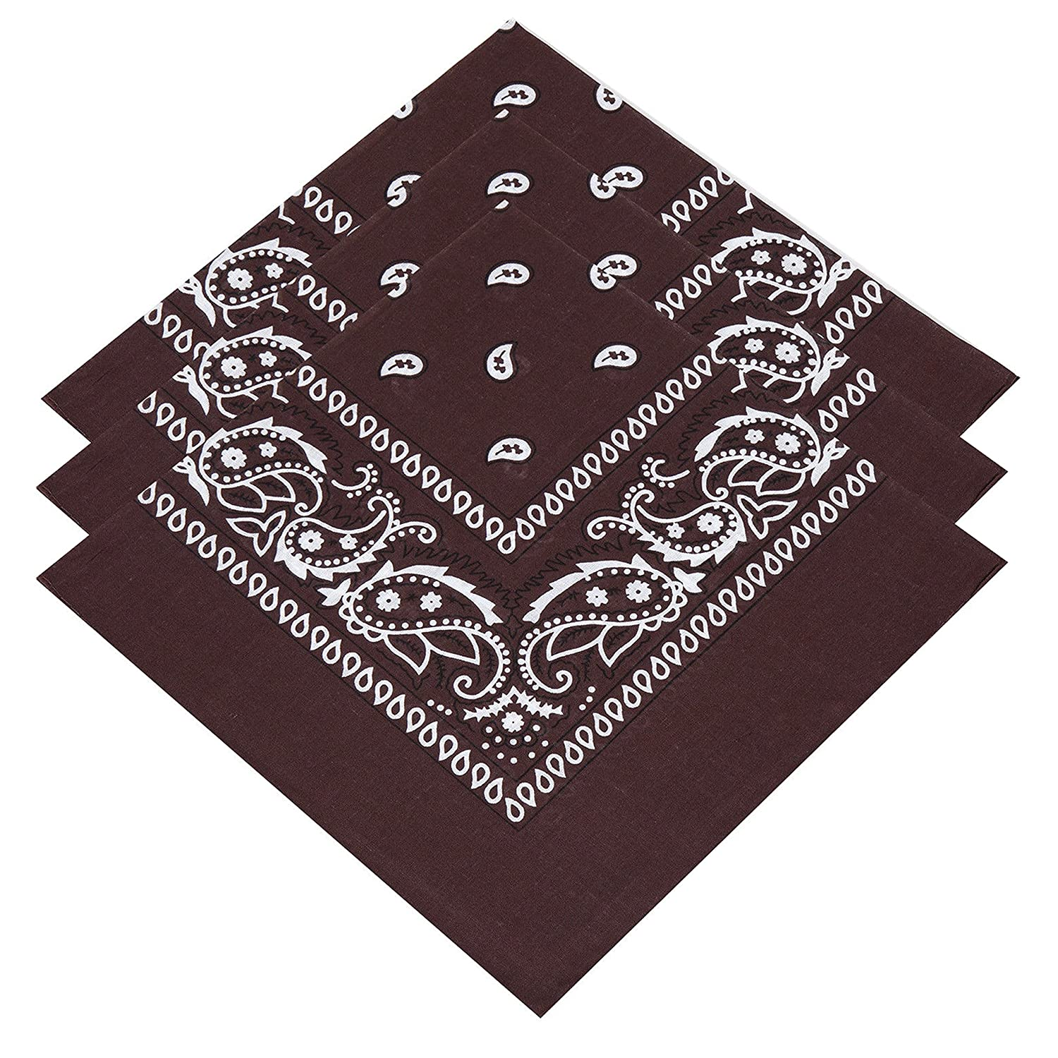 3 Unisex Brown Bandanas