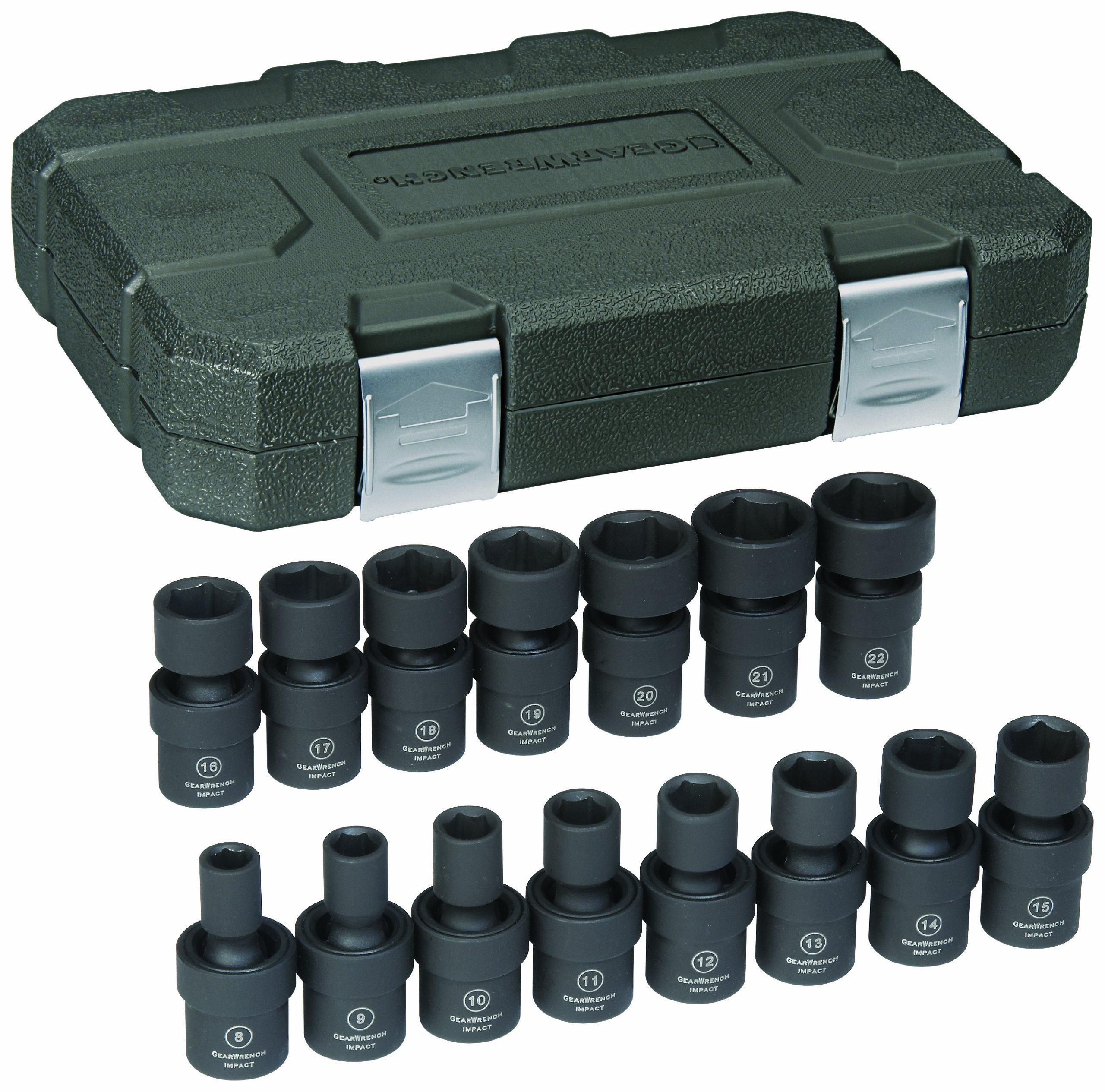 GearWrench 84918 3/8-Inch Drive Universal Impact Socket Set Metric, 15-Piece