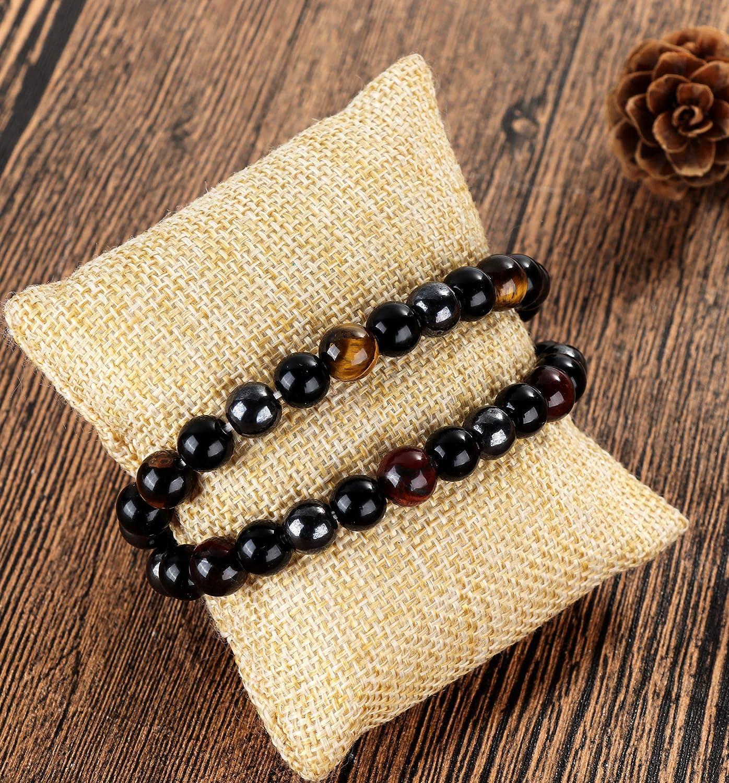 BESTEEL 2PCS Beads Bracelets pour Hommes Femmes Oeil de Tigre H/ématite Vintage Bracelet Obsidienne Rock Punk Gothique Bracelet Charms Kit /Élastique