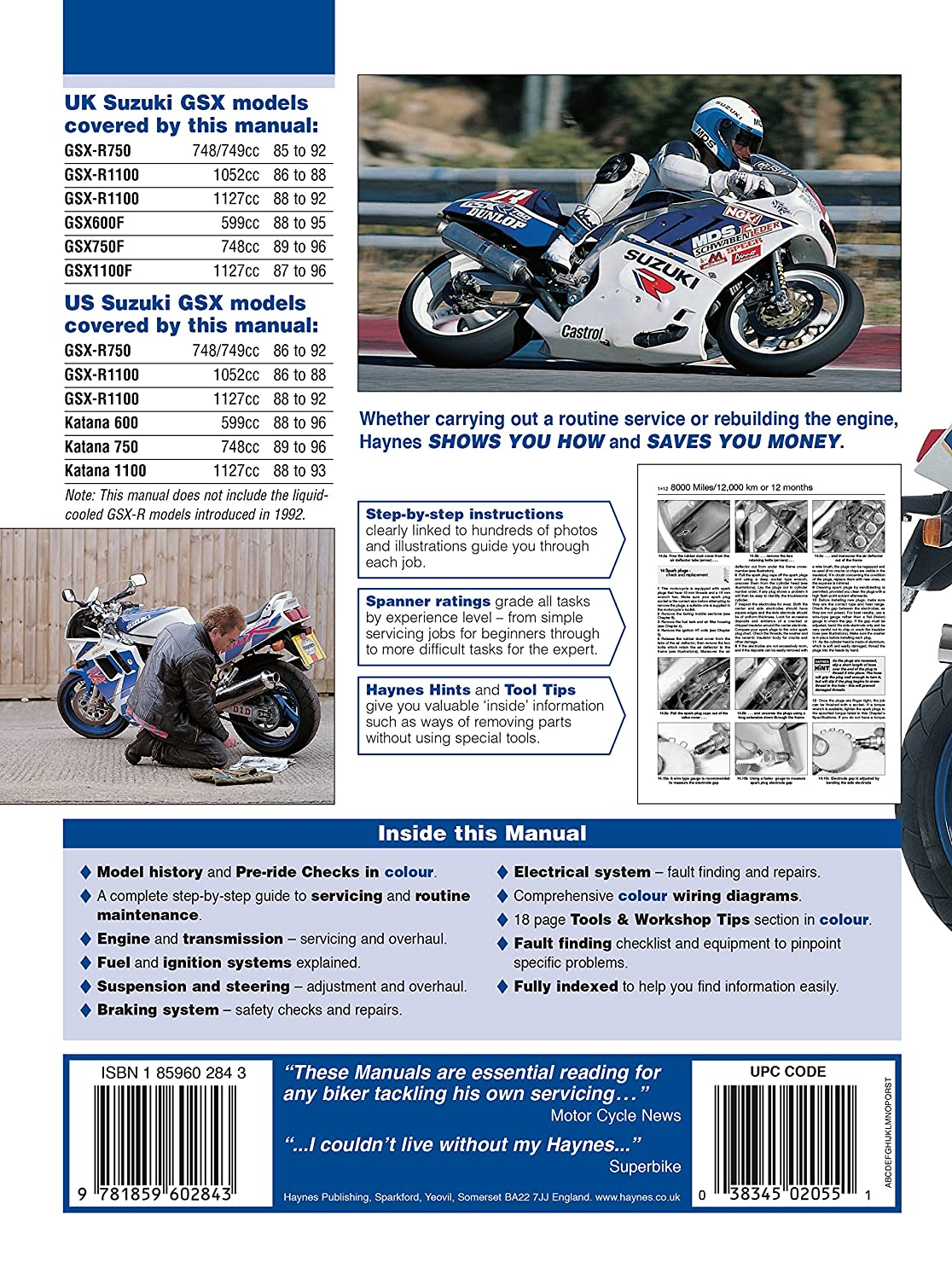 Amazon.com: 1987-1996 Suzuki Katana GSX 600 750 1100 GSXR GSXR750 GSXR1100  REPAIR MANUAL 2055: Automotive