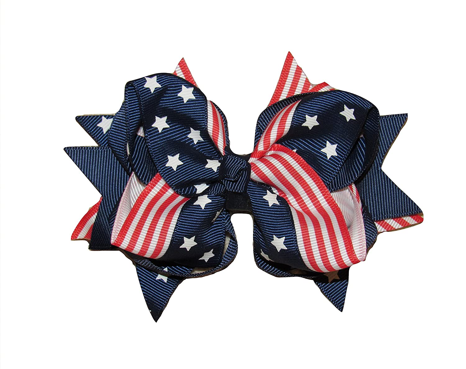 Stars, Fireworks, Flags 4th of July Messy Bow