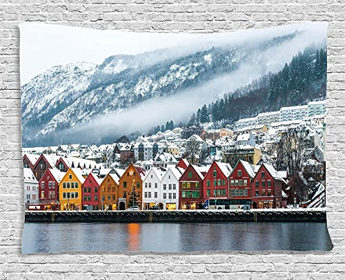 Ambesonne European Tapestry, Winter View of Bruges Norway Northern Mountain Landscape European Print Urban, Wide Wall Hanging for Bedroom Living Room Dorm, 60 X 40 , Blue Grey