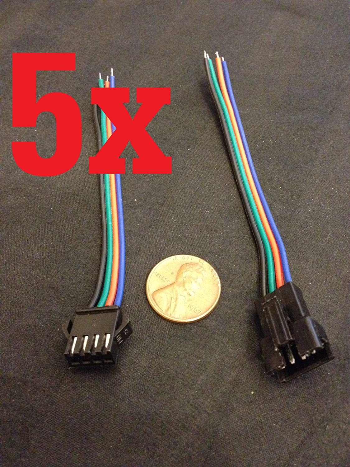 5 Set Jst 4 Pin Male Female Rgb Connector Wire Cable Led Wiring 3528 5050 Smd Strip A1 Home Improvement