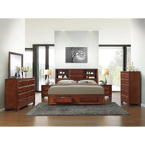 Roundhill Furniture Asger Antique Oak Finish Wood Bed Room Set, King  Storage Bed, Dresser
