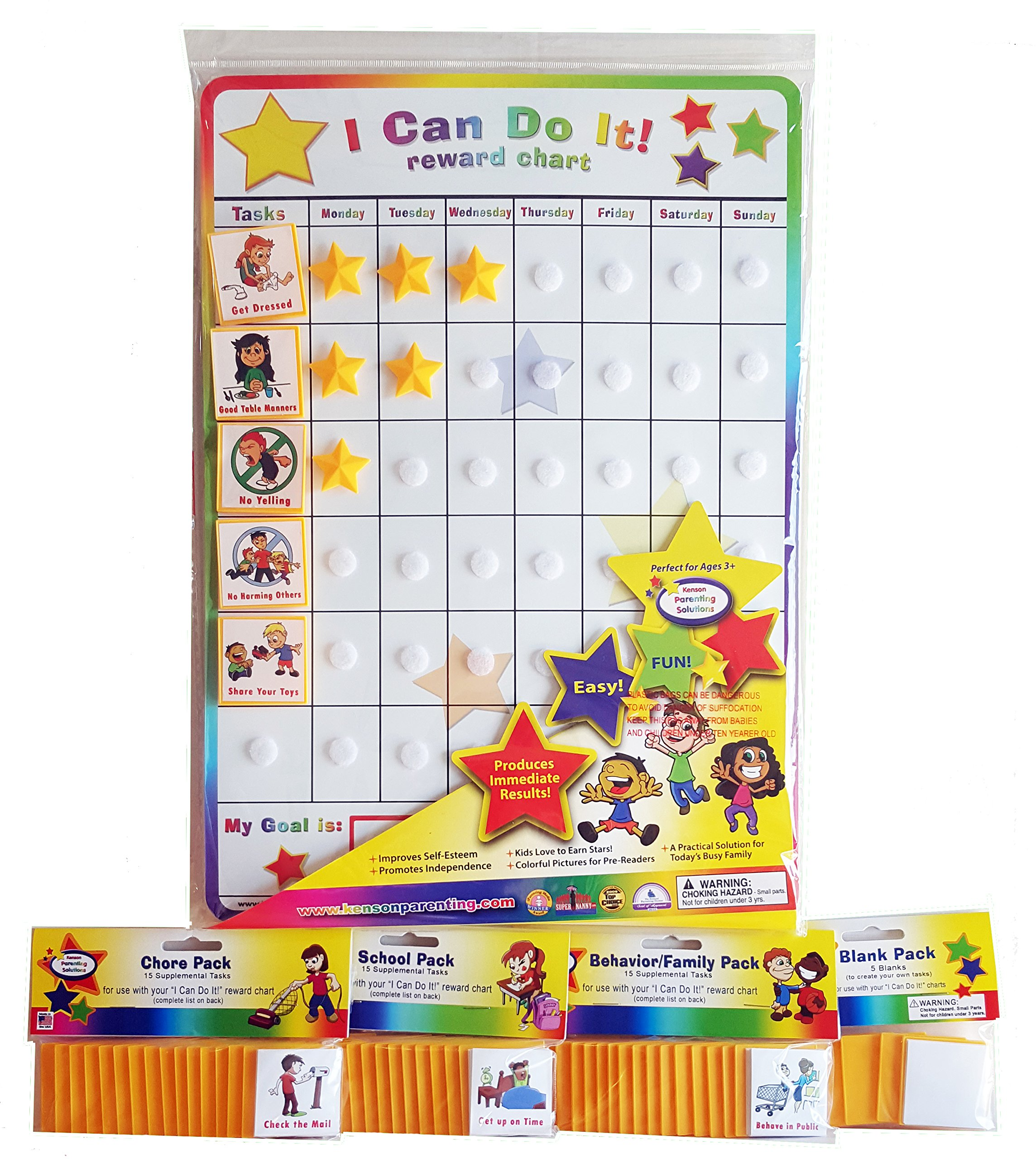 I Can Do It! reward chart supplemental pack bundle, behavior, chore, school and blanks.