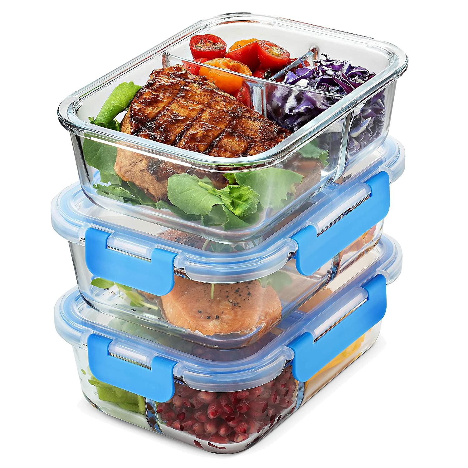 Glass Meal Prep Containers 3-Compartment - 3-Pack 32 oz. Freezer to Oven Safe Airtight Food Storage Container Set with Hinged Locking Lids BPA Free, Great On The Go Portion Control Lunch Containers FinrDine FD-G601