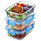 Superior Glass Meal Prep Containers - Set of 3, 3 Compartment Food Storage Container with Airtight Lids, BPA Free, Freezer Microwave & Oven Safe, Portion Control Takeaway Container for Home and Work