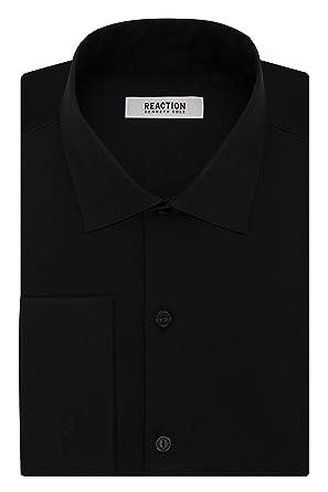 608dfdb23 Kenneth Cole Reaction Men's Technicole Slim Fit Stretch Solid French Cuff  Spread Collar Dress Shirt ,