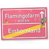 Einhorn Flamingo PVC Schild, Ortsschild - Ortstafel rosa, süße Wanddeko, Deko Türschild für Mädels-Wohnung, Mädchen-Zimmer, Geschenkidee Geburtstags-Geschenk, Lustige Überraschung - beste Freundin