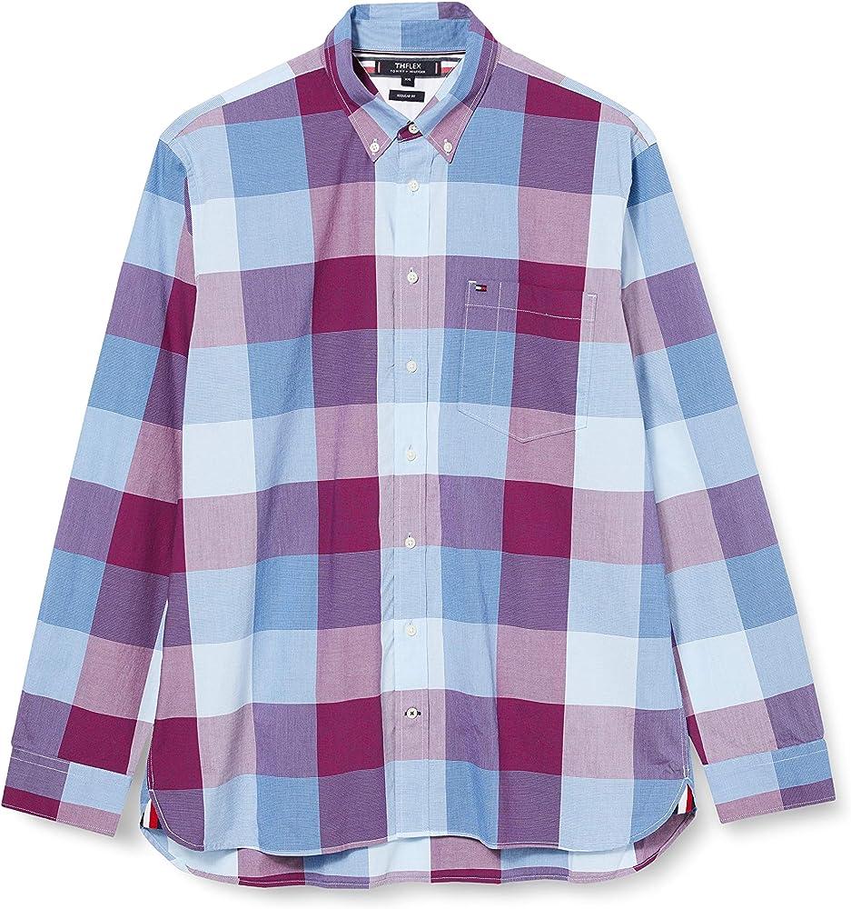 Tommy Hilfiger Flex Houndstooth Check Shirt Camisa, Rojo, X-Small para Hombre: Amazon.es: Ropa y accesorios