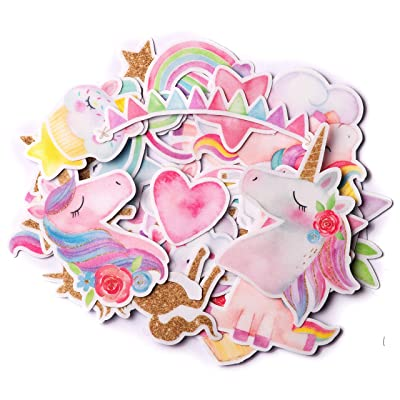 Navy Peony Magical Rainbow Unicorn Stickers (34 Pieces) | Cute Sticker Pack for Party Favors and Scrapbooking | Kawaii Princess Stickers for Girls | Waterproof Stickers for Water Bottles and Laptops: Toys & Games