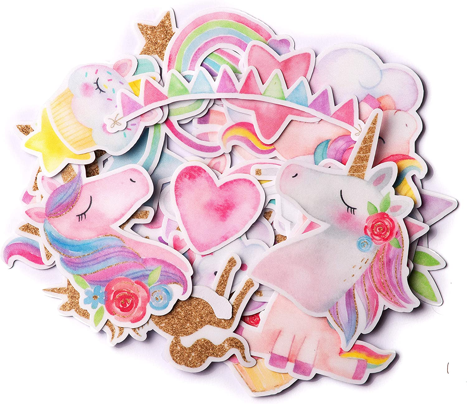 Navy Peony Magical Rainbow Unicorn Stickers (34 Pieces) | Cute Sticker Pack for Party Favors and Scrapbooking | Waterproof Princess Stickers for Girls