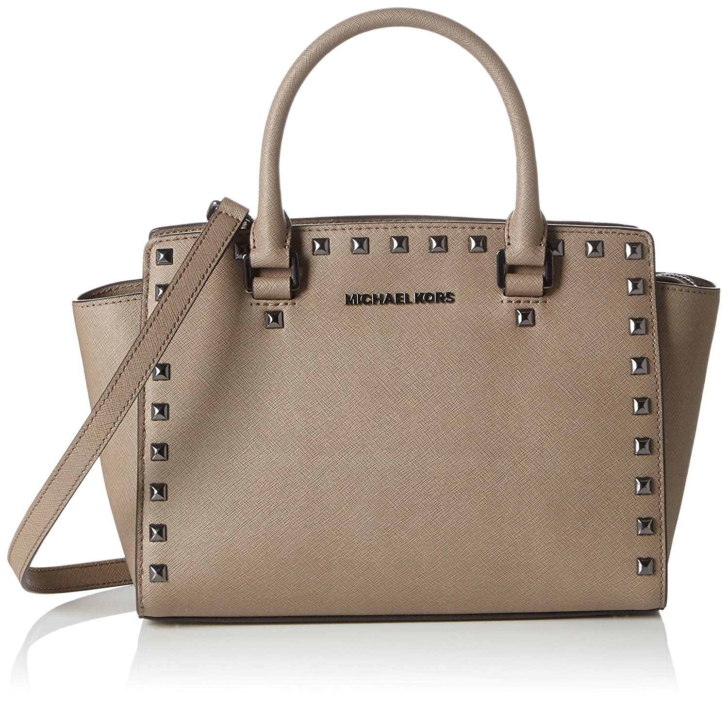 53c9482a61e1bf Michael Kors Women's Selma Medium Studded Saffiano Leather Satchel Satchel  Brown (Dark Dune): Amazon.co.uk: Shoes & Bags