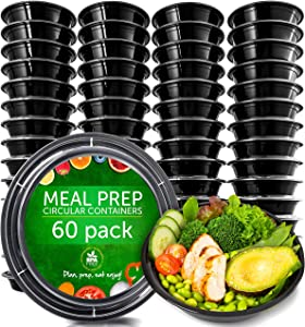 Meal Prep Containers - Reusable Plastic Containers with Lids - Disposable Food Containers Meal Prep Bowls - Plastic Food Storage Containers with Lids - Lunch Containers by Prep Naturals, 60 Pack
