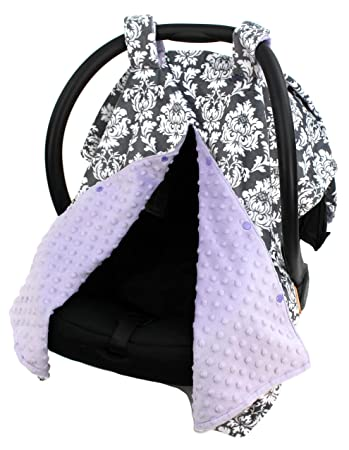 Dear Baby Gear Deluxe Car Seat Canopy Custom Minky Print Grey And White Damask Lavender