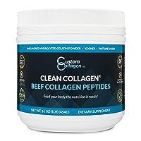Collagen Peptides Powder 1lb (16oz) Jar - Clean Collagen® - Unflavored, Grass Fed...