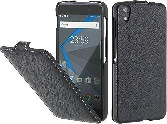 StilGut UltraSlim, Housse Blackberry DTEK50 en Cuir. Etui de Protection à Ouverture Verticale et Fermeture clipsée, en Noir