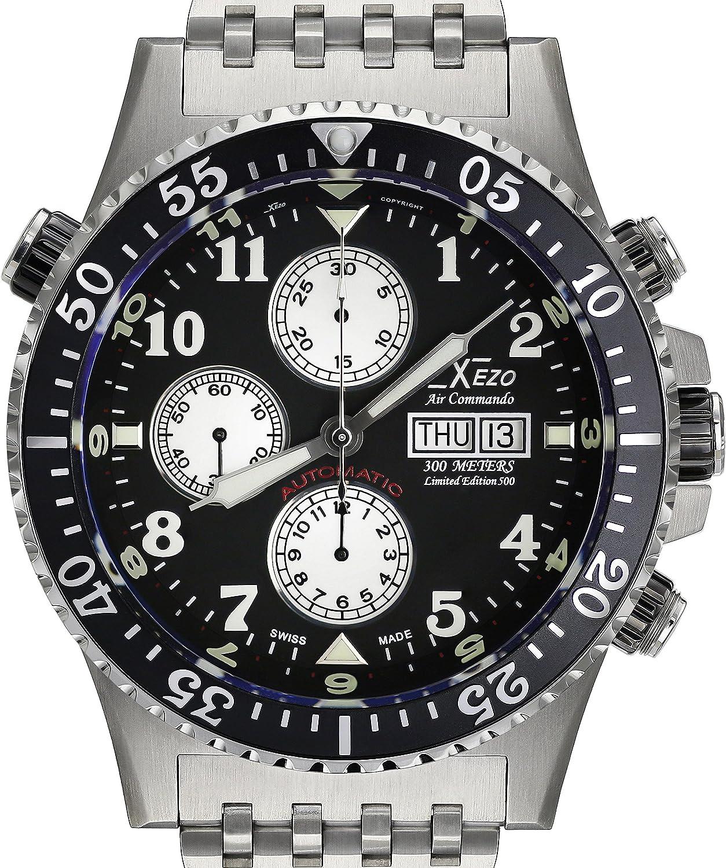 Xezo Reloj Air Commando Divers Valjoux 7750 automático, Reloj cronográfico, antireflectante, 45 mm de diámetro