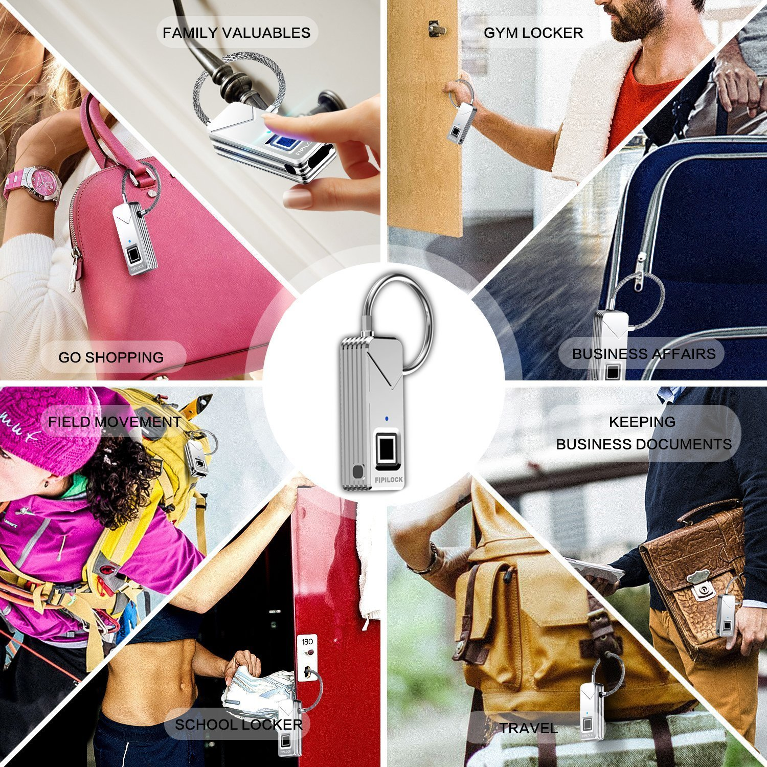 YAHEY Fingerprint Lock, Portable Smart Biometric Padlock Security No Password Waterproof and Anti-Theft Padlock for Golf Bag Suitcase, Gym Locker, Cupboard, Drawer Bike and More(Sliver) by YAHEY (Image #7)