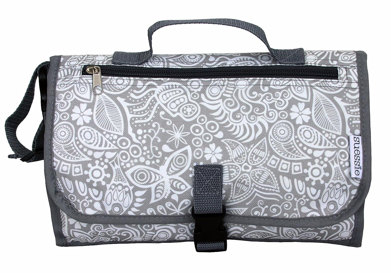 Tapis à langer portable – étanche avec pochette – matelas à langer de voyage – kit à langer avec anneau en bonus pour jouets – sans BPA Suessie