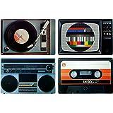 knora Set de table rétro Set de place / dessous-assiette–(motif appareils HiFi) Design des années '80