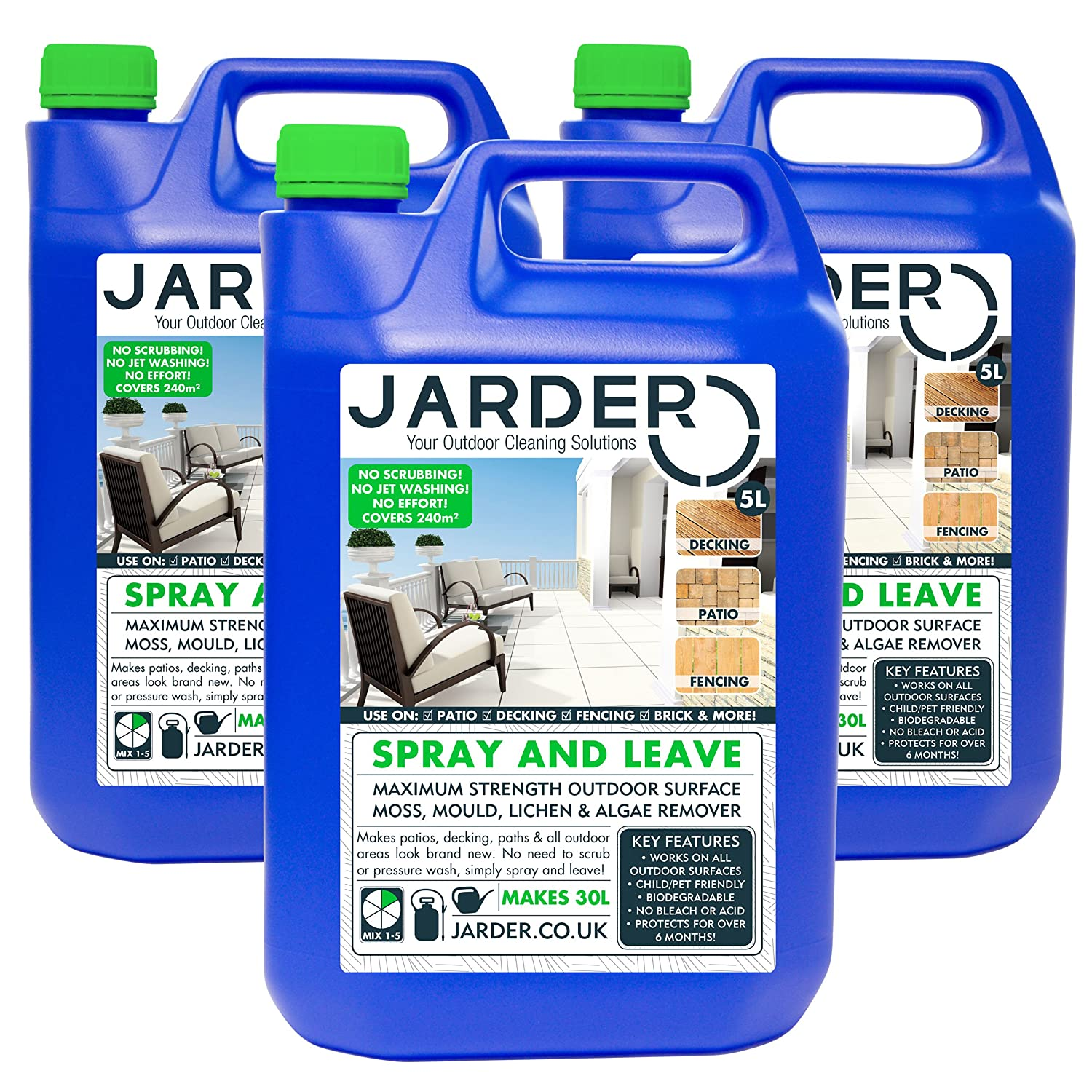 Jarder 3 x 5 Litre Concentrate Spray & Leave Cleaner - Patio Fencing Decking - Moss Mould & Algae Killer