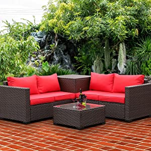 VALITA Patio PE Wicker Furniture Set 4 Pieces Outdoor Brown Rattan Sectional Conversation Sofa Chair with Storage Box Table and Red Cushions