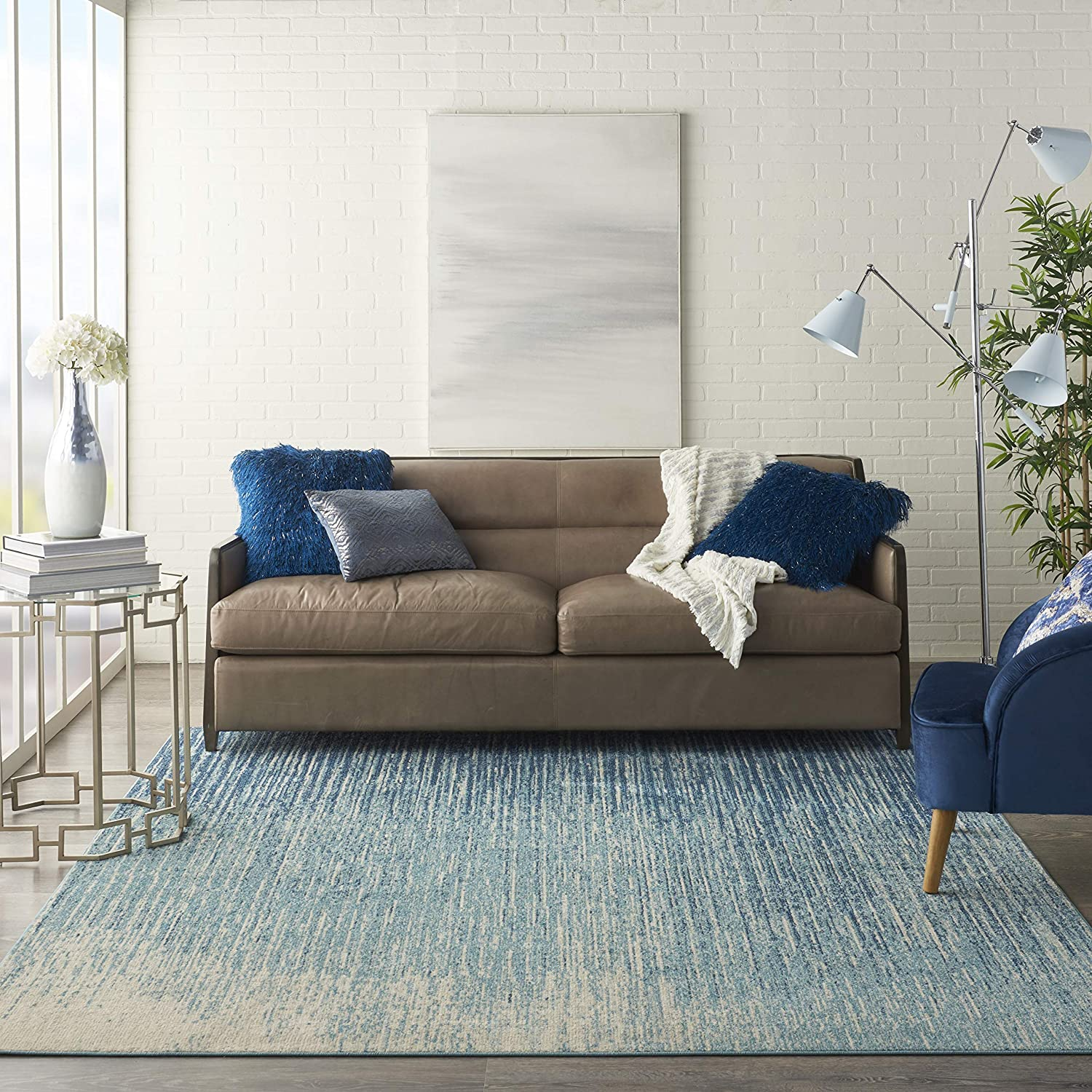 Nourison Passion Modern Abstract Navy/Light Blue Area Rug (7' x 10'), 6'7