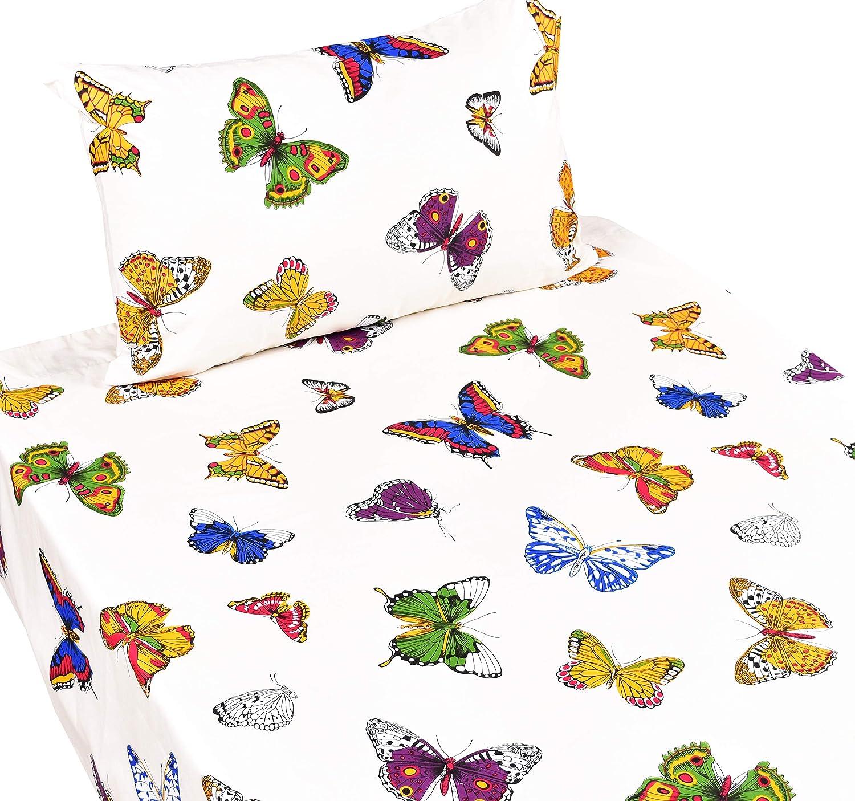 J-pinno Butterfly Twin Sheet Set for Kids Girl Children,100% Cotton, Flat Sheet + Fitted Sheet + Pillowcase Bedding Set