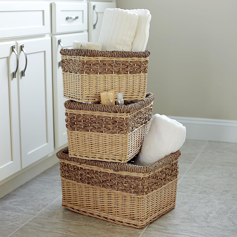 Household Essentials ML-2205 3 Piece Starling Decorative Wicker Storage Basket Light Brown